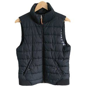 H&M puffy navy blue vest with side waist buttons